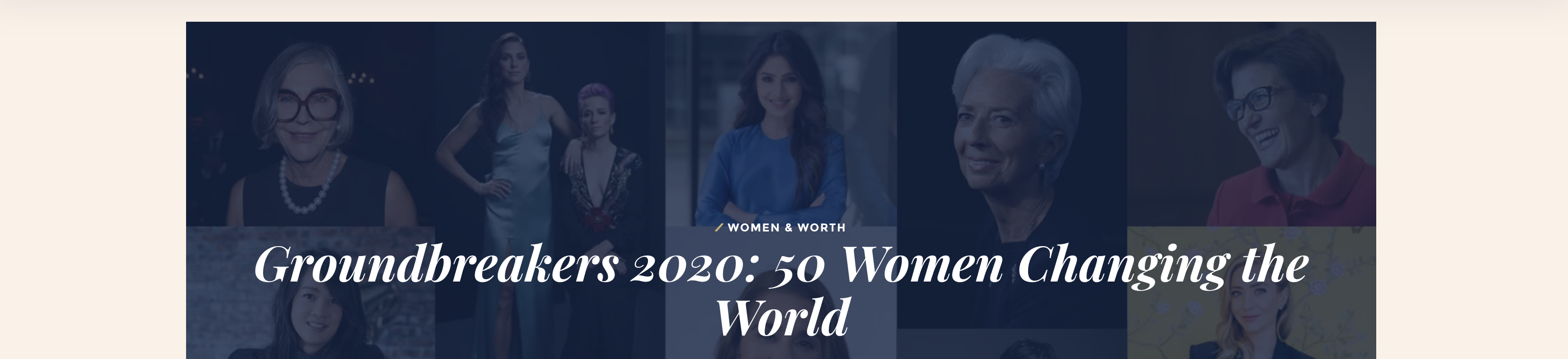 """Image with a mosaic of women's faces and the words """"Groundbreakers 2020"""""""