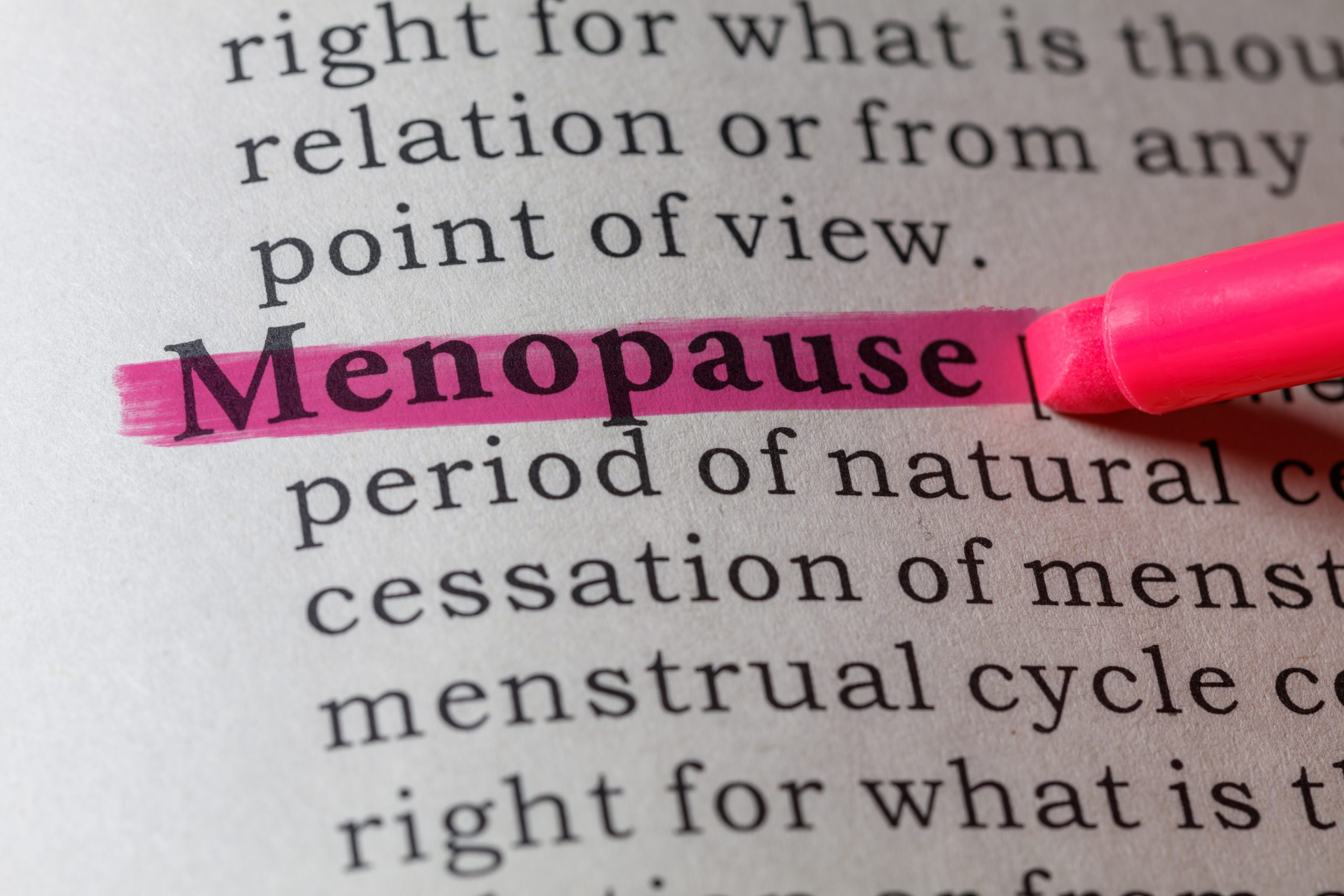 Menopause highlighted in dictionary